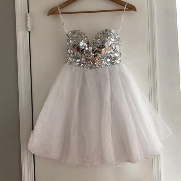 Tony Bowls Dresses | Strapless White Bedazzled Dress | Poshmark